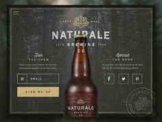 Infographics , UI Design et Web Design - Naturale Brewing Co. Landing Page - CoDesign Magazine Luxury Website, Beer Company, Brewing Company, Beer Shop, Website Design Inspiration, Logo Inspiration, Design Ideas, Creative Inspiration, Page Design