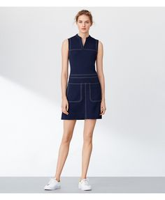 Tory Sport Piqué Contrast-stitch Dress