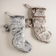 Gray Chunky Faux Fur Stocking | World Market