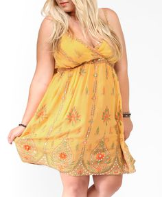 Yellow Sequined Batik Print Dress | FOREVER21 PLUS