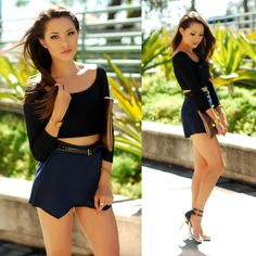 Daily Look Black Crop Top, 2020 Ave Navy Skort, Madly Yours Bronze Custom Clutch, Chinese Laundry Strappy Heels, Anchus Bronze Bracelet