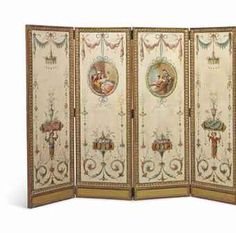 A FRENCH NEOCLASSICAL GILTWOOD FOUR-LEAF SCREEN