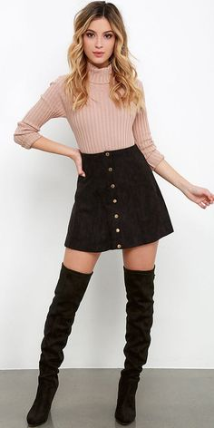 #winter #outfits brown sweater and black button-down mini skirt