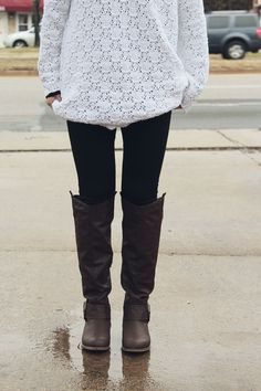 comfy outfit: chunky sweater with thermal underneath, tights, tall boots