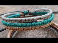 Macrame Tutorial|ถักเชือกเทียนลายครึ่งแบนสามเส้นรวม - YouTube Hemp Jewelry, Hemp Bracelets, Hippie Jewelry, Macrame Jewelry, Bracelets For Men, Macrame Colar, Macrame Bracelet Diy, Bracelet Crafts, Hemp Bracelet Tutorial