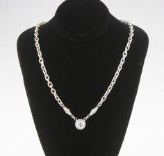 Gorgeous, Unique 18K White Gold Chain Diamond Solitaire Pendant TDW = 1.00 ct #Pendant