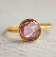 WINTER SALE Gold Pink Quartz Ring  Gemstone Ring  by OhKuol, $48.45