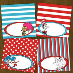 Dr. Seuss Food Labels or Place Cards - Dr. Seuss Printable Food Labels (Cat in the Hat, Thing 1 and Thing 2, Lorax and Horton). $3.00, via Etsy.