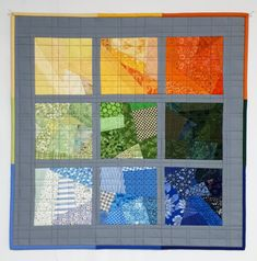 "Modern Quilted Wall Hanging, Scrappy Squares Wall Quilt, Gradient Yellow Orange Green Blue Grey Art Quilt, 20.5""x20.5"" by VillageQuilts on Etsy"