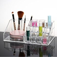 """SortWise ® Detachable 3 Drawers Cosmetic Makeup Cosmetics Organizer Storage Container Clear Acrylic Box Case / 9.4"""" X 7.2"""" X 5.1"""", Multipurpose (4 Layers 19 Grids / Compartments Sections, Transparent)"""