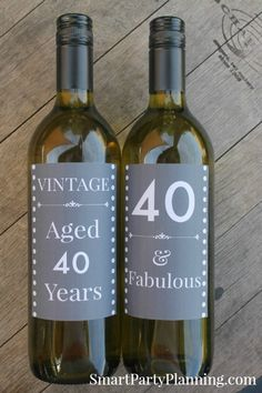 Set of 2 printable wine labels for a 40th birthday. Awesome to use as party decoration or as a gift.