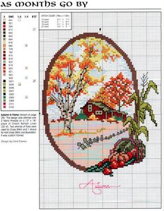 Beginning Cross Stitch Embroidery Tips - Embroidery Patterns Counted Cross Stitch Patterns, Cross Stitch Charts, Cross Stitch Designs, Cross Stitch Embroidery, Embroidery Patterns, Fall Cross Stitch, Cross Stitch House, Cross Stitch Flowers, Cross Stitch Landscape