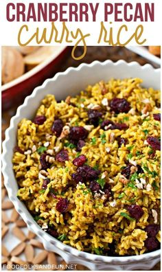 This Cranberry-Pecan Curry Rice is full of Fall flavors and soul-warming curry! We had to serve it with yogurt though because I used hot curry powder (which usually doesn't taste that hot) and it was really spicy! Thanksgiving Recipes, Fall Recipes, Indian Food Recipes, Holiday Recipes, Holiday Foods, Sweets Recipes, Dinner Recipes, Curry Recipes, Vegetarian Recipes