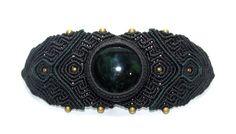 Pulsera en Macrame con Obsidiana y Bronce Negro Joyería por Mahwu