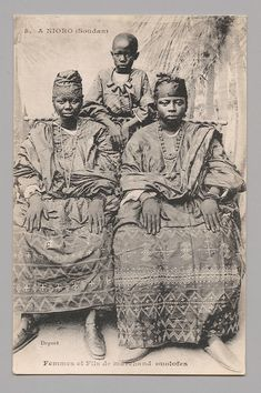 """fishstickmonkey: """" In Nioro (Sudan)—Wives and son of Wolof trader [A Nioro (Soudan)—Femmes et Fils de Marchand Ouolofes] Artist: Possibly Louis Hostalier (Senegal) (French, active ca. African Culture, African American History, African Art, Black Art Pictures, Vintage Pictures, French West Africa, African Diaspora, Black Women Art, Animation"""