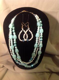 """Aqua Blu"" Gorgeous aqua glass beads, fresh water pearls, vintage beads, Swarovski crystals, 18 1/2"" drop, a gorgeous one of kind piece.  email: gracebeadeddesign@gmail.com"