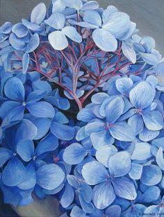 Flower Paintings - Blue Hydrangea - Acrylic  Julia Patience