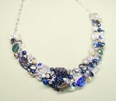 Blue Statement necklace Cobalt blue jewelry by BrassBoheme on Etsy, $130.00