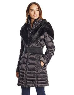 Laundry Women's Down Coat with Cinch Waist and Faur Fur T...