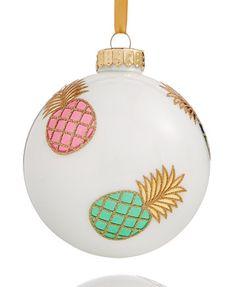Holiday Lane White Pineapple Glass Ball Ornament, Created for Macy's | macys.com