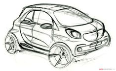 Smart ForTwo sketch... I wish production cars would remain closer to the way designers envision them.