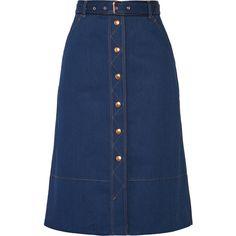 Rag & bone Branson belted denim skirt (2.820 HRK) via Polyvore featuring skirts, indigo, belted skirt, rag & bone, denim skirt, knee length denim skirt and blue skirt