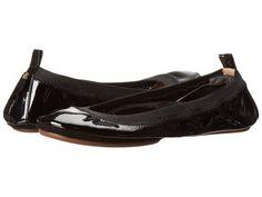 Yosi Samra - Samara Soft Patent Leather Fold Up Flat (Black) Women's Flat Shoes