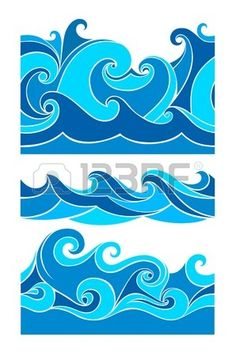 Illustration about Set blue waves - seamless pattern, from element of the design. Illustration of design, waves, drops - 40031689 Art Lessons, Stencils Printables, Retro Surf Art, Wave Art, Paint Designs, Painting, Art, Water Patterns, Ocean Art