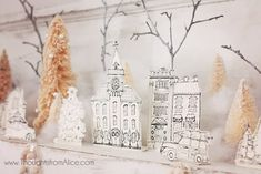 Thoughts from Alice: DIY Printable Christmas Village {Anthropologie Inspired} Diy Christmas Village, Paper Christmas Decorations, White Christmas Trees, Christmas Villages, Vintage Christmas Ornaments, Christmas Paper, Christmas Crafts For Kids, Christmas Printables, Christmas Projects