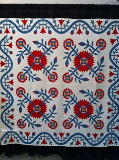Four block Democratic Rose, unknown quiltmaker, c. 1860.  Spotted at the 2012 Houston International Quilt Festival. ......~♥~