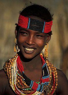 Ethiopia. Turmi, Hamer girl