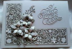 Made by Lynne Lee - 4 Tattered Lace dies which came with Tattered Lace magazines (volumes 8, 18, Christmas 2014 & Christmas 2015) used with gorgeous soft pearl card stock from Anna Marie Designs.