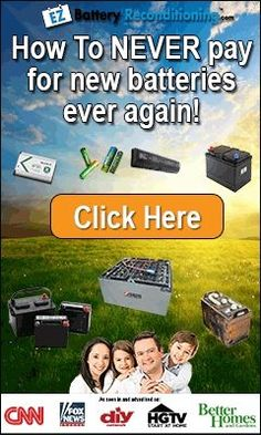 Dead Simple Trick Brings Any Battery Back To Life! With this recondition battery secret, you won't have to buy new expensive batteries anymore. You can just recondition your old, used batteries and save a lot of money!  Read more: http://www.usfreeads.com/4163140-cls.html#ixzz4a6a0PrIB
