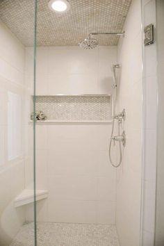 White shower tile ideas stunning tile shower designs ideas for bathroom remodel shower ceiling tile white White Tile Shower, Small Bathroom With Shower, Shower Niche, Master Shower, Master Bathroom, Shower Bathroom, Small Bathrooms, Bathroom Ideas, Shower Ideas