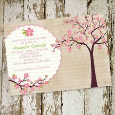 baby girl shower invitations, shabby chic with cherry tree blossoms, digital, printable file (item 1344). $13.00, via Etsy.