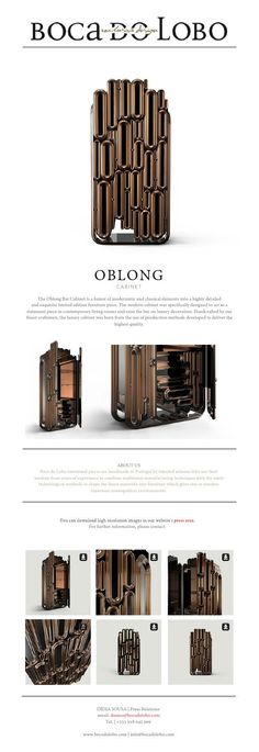 The Oblong Bar Cabinet is a fusion of modernistic and classical elements into a highly detailed  and exquisite limited edition furniture piece.
