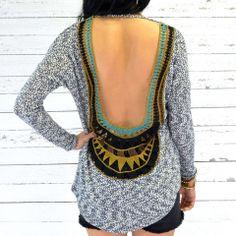 Day Break Blue & White Open Back Crochet Top