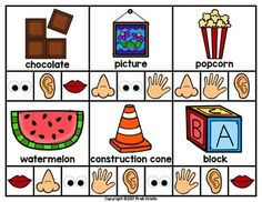 Five Senses Clip Cards by PreK Kristin Five Senses Preschool, Body Preschool, Preschool Learning Activities, Preschool Worksheets, Five Senses Worksheet, Kids Poems, English Activities, Math For Kids, Reading Activities