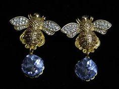 1927 Baroque Designer Inspired Gold Crystal Bee Blue Earrings