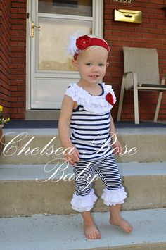 4th of July Outfit for Baby and toddler girls by ChelseaRoseBaby, $32.00
