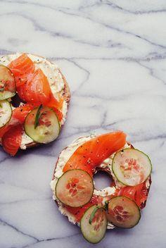 Smoked Salmon & Cucumber Bagel with Tarragon-Shallot Cream Cheese | Okie Dokie Artichokie