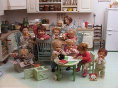 ELF kitchen with Catherine Muniere's miniature art dolls