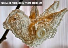 reciclar con tejido y hacer figuras o motivos