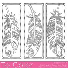 Printable Feathers Coloring Page Bookmarks for Adults, PDF / JPG, Instant Download, Coloring Book, Coloring Sheet, Grown Ups, Digital Stamp: