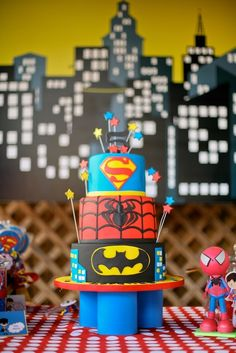 Incredible cake at a superhero party!    See more party ideas at CatchMyParty.com!  #partyideas #superhero