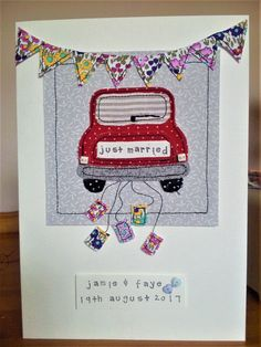 Handmade sewn personalised retro mini wedding card made with assorted fabrics & buttons