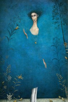 "Gabriel Pacheco - Mexican artist ""Blue woman with bird"" Art And Illustration, Fantasy Kunst, Fantasy Art, Gabriel Pacheco, Art Academy, Whimsical Art, Conte, Surreal Art, Painting"