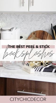 Best Peel & Stick Backsplashes - City Chic Decor If you live in a rental home and struggle decoratin Studio Apartment Decorating, Rental Decorating, Decorating Rental Apartments, Decorating Ideas, Kitchen Backsplash Peel And Stick, Removable Backsplash, Diy Bathroom Decor, Rental Bathroom, Rental Kitchen