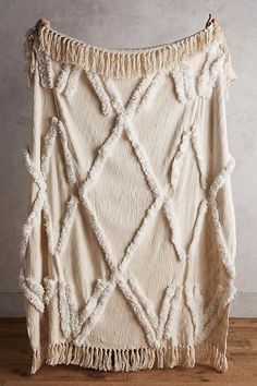 Aldalora Throw from Anthropologie. Shop more products from Anthropologie on Wanelo. Anthropologie Bedding, Anthropologie Home, Dream Blanket, Boho Throw Blanket, Chunky Blanket, Textiles, Bohemian Decoration, Rustic Decor, Moroccan Wedding