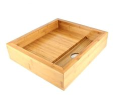 Beautiful bamboo vessel basin 'Bento box' for the bathroom. Available now at www.uniquesinks.com.au